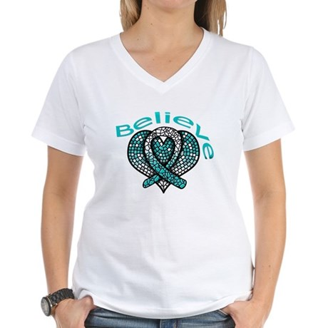 CervicalCancer Believe Women's V-Neck T-Shirt