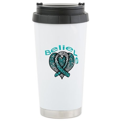 CervicalCancer Believe Ceramic Travel Mug