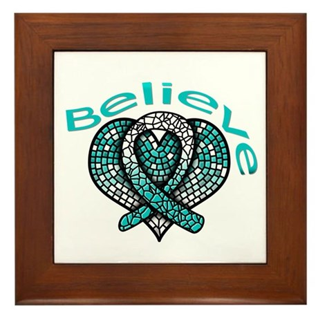 CervicalCancer Believe Framed Tile