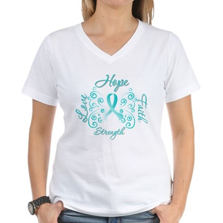 CervicalCancer HopeStrength Women's V-Neck T-Shirt