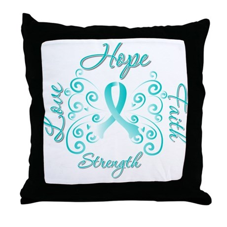 CervicalCancer HopeStrength Throw Pillow