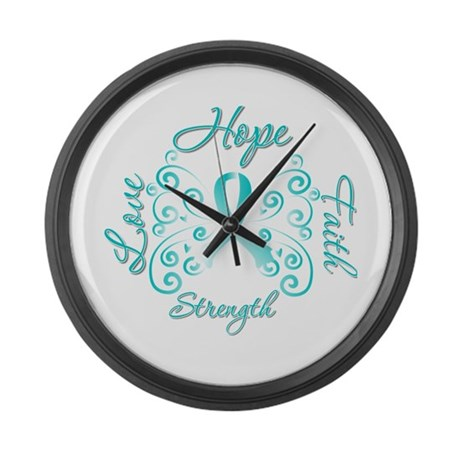CervicalCancer HopeStrength Large Wall Clock