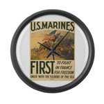 First to Fight in France Large Wall Clock