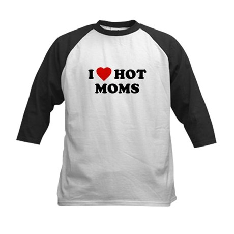 I Love [Heart] Hot Moms Kids Baseball Jersey