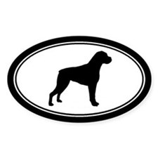Boxer dog Silhouette Oval Decal
