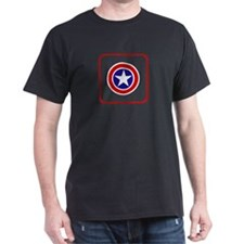 American Sheild( Red Boarder) Black T-Shirt