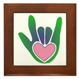 Green/Pink Heart ILY Hand Framed Tile