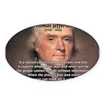 Safety Freedom President Jefferson Oval Sticker