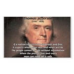 Safety Freedom President Jefferson Sticker (Rectan