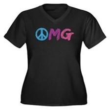 OMG Peace Sign Women's Plus Size V-Neck Dark T-Shi