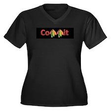Unique Commit Women's Plus Size V-Neck Dark T-Shirt