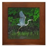 Heron taking flight Framed Tile