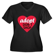 Adopt Don't Shop Womens Plus Size VNeck Dark Shirt