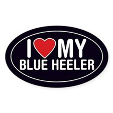 I Love My Blue Heeler Oval Sticker/Decal