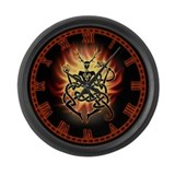 Cernunnos Flames Large Wall Clock