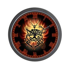 Cernunnos Flames Wall Clock