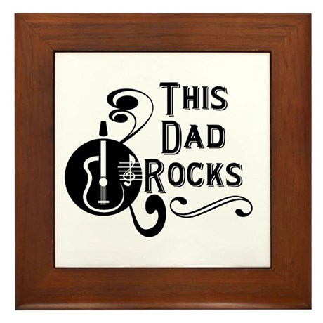 Guitar This Dad Rocks Framed Tile