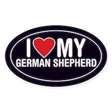 I Love My German Shepherd Oval Sticker/Decal