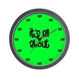 Egocentric Bright Green Wall Clock
