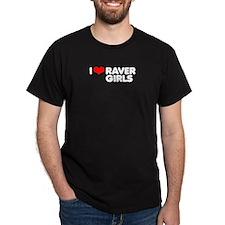 I love Raver Girls / Black T-Shirt