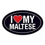 I Love My Maltese Oval Sticker/Decal