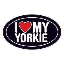 I Love My Yorkie Oval Sticker/Decal