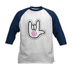 Black/Red Dotty Love Hand Kids Baseball Jersey