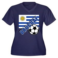 URUGUAY Soccer Team Women's Plus Size V-Neck Dark