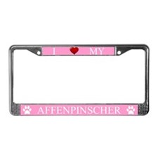 Pink I Love My Affenpinscher License Plate Frame