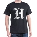 Letter &quot;H&quot; (Gothic Initial) Black T-Shirt
