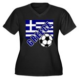 World Soccer GREECE Women's Plus Size V-Neck Dark