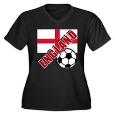 World Soccer ENGLAND Women's Plus Size V-Neck Dark