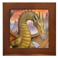 Prowling Dragon Framed Tile