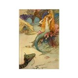 Vintage Mermaid Rectangle Magnet (10 pack)