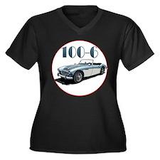 The 100-6 Women's Plus Size V-Neck Dark T-Shirt