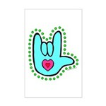 Aqua Dotty Love Hand Mini Poster Print