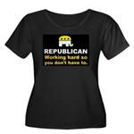 Republican Working Hard Women's Plus Size Scoop Ne