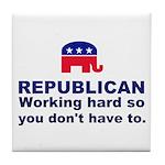 Republican Working Hard Tile Coaster