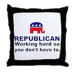 Republican Working Hard Throw Pillow
