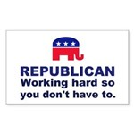 Republican Working Hard Sticker (Rectangle 10 pk)