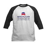 Republican Working Hard Kids Baseball Jersey