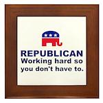 Republican Working Hard Framed Tile