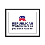 Republican Working Hard Framed Panel Print