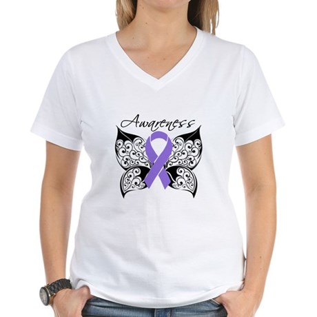 TattooHodgkinsLymphoma Women's V-Neck T-Shirt