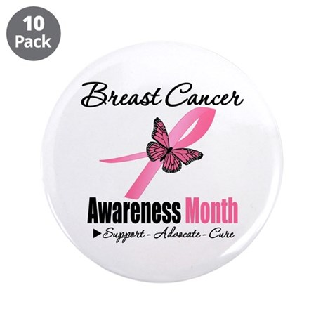 "Breast Cancer Month Support 3.5"" Button (10 pack)"