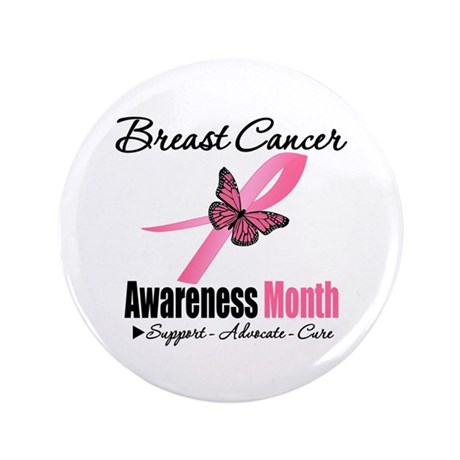 "Breast Cancer Month Support 3.5"" Button (100 pack)"