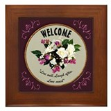 Welcome Framed Tile - Roses/Wine Border