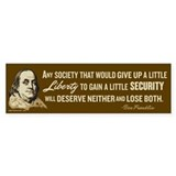 Franklin Liberty Quote Bumper Bumper Sticker