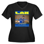 LAX Women's Plus Size V-Neck Dark T-Shirt