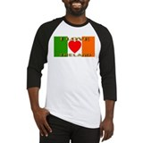 I Love Ireland Heart Flag Baseball Jersey